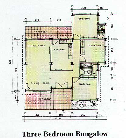 Plan of bunglow 3 bedroom bungalow