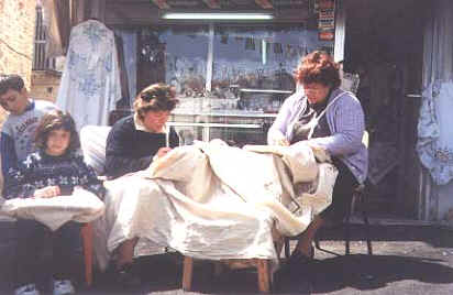 The family lacemaking in the sunshine at Lefkara in Cyprus.jpg (26603 bytes)
