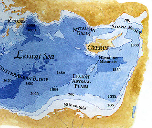 Depth of water around Cyprus map
