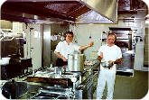 A kitchen onboard a Grimaldi ferry to Cyprus