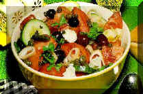 Greek Salad with fetta cheese and olives