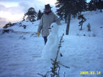 A snow woman built by Juliette in 2006 on Troodos